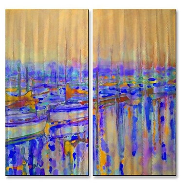 All My Walls 'Harbor Sunset' by Kip Decker 2 Piece Painting Print Plaque Set