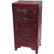 Oriental Furniture Carved 5 Drawer Chest