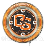 Holland Bar Stool NCAA 15'' Double Neon Ring Logo Wall Clock; Oregon State