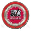 Holland Bar Stool NCAA 15'' Double Neon Ring Logo Wall Clock; Alabama-Elephant