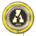 Holland Bar Stool NCAA 15'' Double Neon Ring Logo Wall Clock; Appalachian State