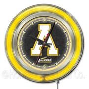Holland Bar Stool NCAA 15'' Double Neon Ring Logo Wall Clock; Appalachian State