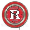 Holland Bar Stool NCAA 15'' Double Neon Ring Logo Wall Clock; Rutgers