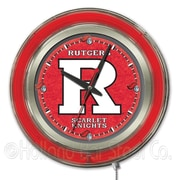 Holland Bar Stool NCAA 15'' Double Neon Ring Logo Wall Clock; Rutgers