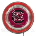 Holland Bar Stool NCAA 15'' Double Neon Ring Logo Wall Clock; South Carolina