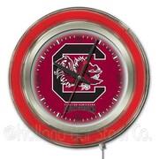 Holland Bar Stool NCAA 15'' Double Neon Ring Logo Wall Clock; South Carolina