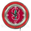Holland Bar Stool NCAA 15'' Double Neon Ring Logo Wall Clock; Stanford