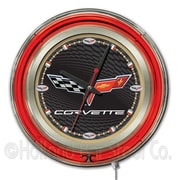 Holland Bar Stool Corvette - C6 15'' Double Neon Ring Logo Wall Clock; Black / Gold
