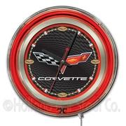 Holland Bar Stool Corvette - C6 15'' Double Neon Ring Logo Wall Clock; Black / Red