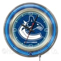 Holland Bar Stool NHL 15'' Double Neon Ring Logo Wall Clock; Vancouver Canucks