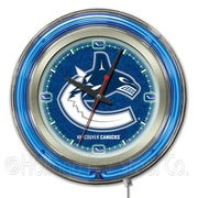 Holland Bar Stool NHL 15'' Double Neon Ring Logo Wall Clock; Vancouver Canucks