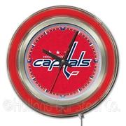 Holland Bar Stool NHL 15'' Double Neon Ring Logo Wall Clock; Washington Capitals