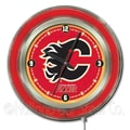 Holland Bar Stool NHL 15'' Double Neon Ring Logo Wall Clock; Calgary Flames