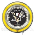 Holland Bar Stool NHL 15'' Double Neon Ring Logo Wall Clock; Pittsburgh Penguins