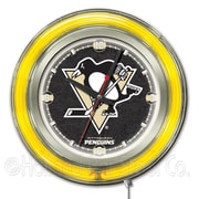 Holland Bar Stool NHL 15'' Double Neon Ring Logo Wall Clock; Pittsburgh Penguins