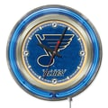 Holland Bar Stool NHL 15'' Double Neon Ring Logo Wall Clock; St. Louis Blues