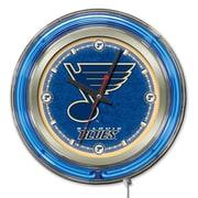 Holland Bar Stool NHL 15'' Double Neon Ring Logo Wall Clock; St. Louis Blues