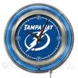Holland Bar Stool NHL 15'' Double Neon Ring Logo Wall Clock; Tampa Bay Lightning