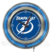 Holland Bar Stool NHL 15'' Double Neon Ring Logo Wall Clock; Tampa Bay Lightning