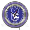 Holland Bar Stool NCAA 15'' Double Neon Ring Logo Wall Clock; Northwestern
