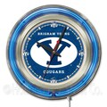 Holland Bar Stool NCAA 15'' Double Neon Ring Logo Wall Clock; Brigham Young