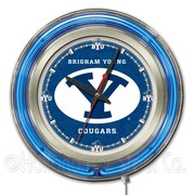Holland Bar Stool NCAA 15'' Double Neon Ring Logo Wall Clock; Brigham Young