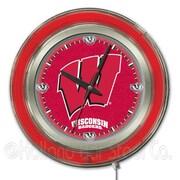 Holland Bar Stool NCAA 15'' Double Neon Ring Logo Wall Clock; Wisconsin ''W''
