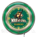 Holland Bar Stool NCAA 15'' Double Neon Ring Logo Wall Clock; Wright State