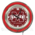 Holland Bar Stool NCAA 15'' Double Neon Ring Logo Wall Clock; Mississippi State