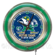Holland Bar Stool NCAA 15'' Double Neon Ring Logo Wall Clock; Notre Dame-Leprechaun