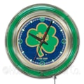 Holland Bar Stool NCAA 15'' Double Neon Ring Logo Wall Clock; Notre Dame-Shamrock