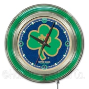 Holland Bar Stool NCAA 15'' Double Neon Ring Logo Wall Clock; Notre Dame-Shamrock