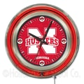 Holland Bar Stool NCAA 15'' Double Neon Ring Logo Wall Clock; Nebraska