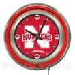 Holland Bar Stool NCAA 15'' Double Neon Ring Logo Wall Clock; Nebraska