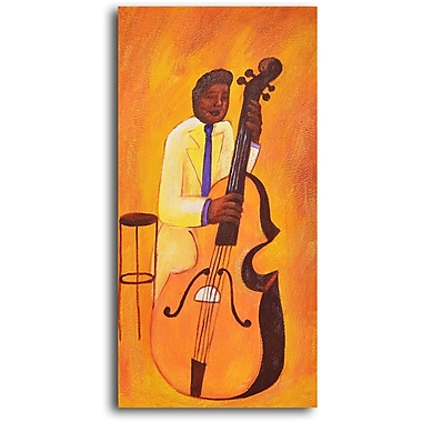 My Art Outlet Jacket Cellist Original Painting on Wrapped Canvas