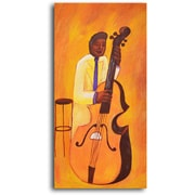 My Art Outlet Yellow Jacket Cellist Original Painting on Wrapped Canvas