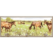 Illumalite Designs Peaceful Horses Painting Print on Plaque with Pegs