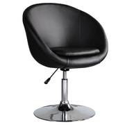 International Design Barrel Adjustable Swivel Leisure Side Chair; Black