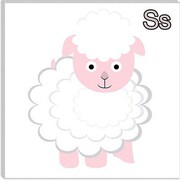 iCanvas Kids Children S is for Sheep Canvas Wall Art; 12'' H x 12'' W x 1.5'' D