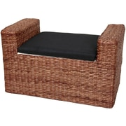 Oriental Furniture Rush Grass Storage Bench; Dark Brown