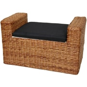 Oriental Furniture Rush Grass Storage Bench; Honey