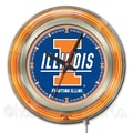 Holland Bar Stool NCAA 15'' Double Neon Ring Logo Wall Clock; Illinois