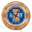 Holland Bar Stool NCAA 15'' Double Neon Ring Logo Wall Clock; Illinois
