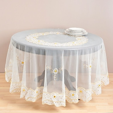 Saro Embroidered and Beaded Table Cloth; Gold
