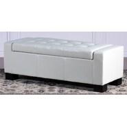 Home Loft Concept Jarius Leather Storage Ottoman; Cream