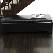 Home Loft Concept Bailey Bonded Leather Storage Ottoman Bench; Black