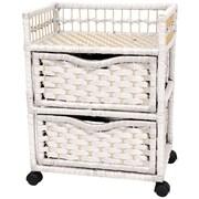 Oriental Furniture 2-Drawer Storage Chest; White