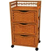 Oriental Furniture 3-Drawer Storage Chest; Honey
