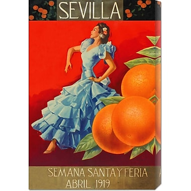 Global Gallery 'Sevilla - Fair Week' by Retrolabel Vintage Advertisement on Wrapped Canvas