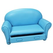 Gift Mark Upholstered Children's Chaise Lounge with Drawer; Light Blue